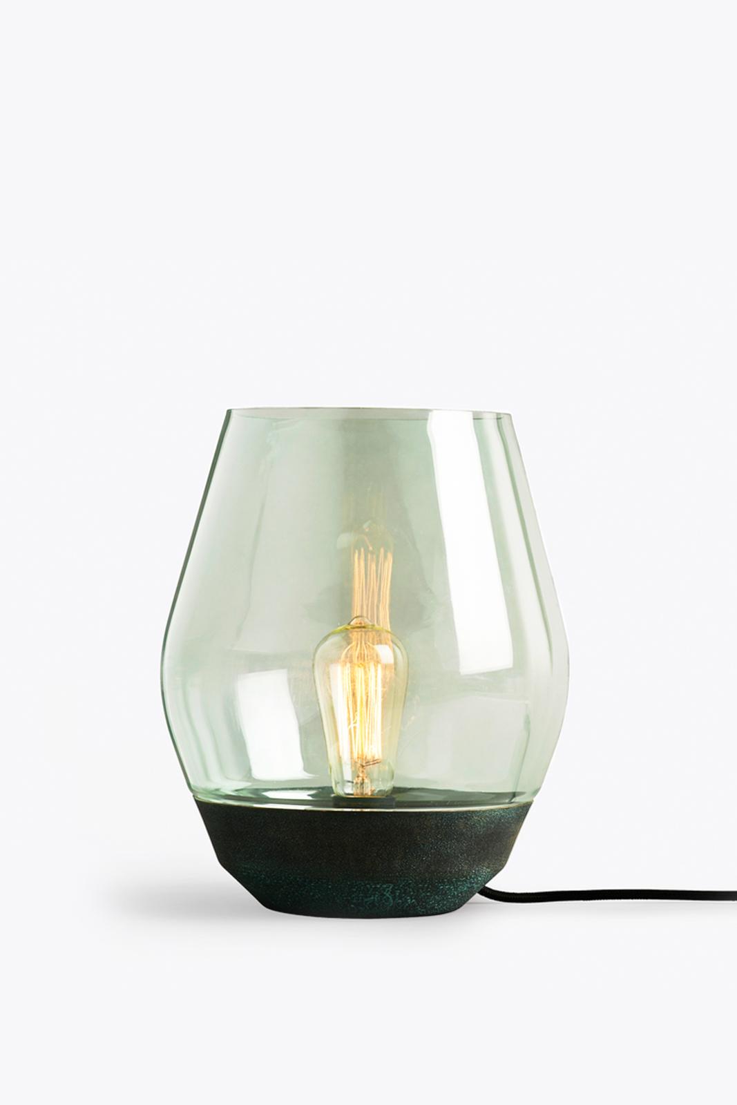 Bowl Table Lamp Verdigrised Copper, Light Green Glass thumbnail