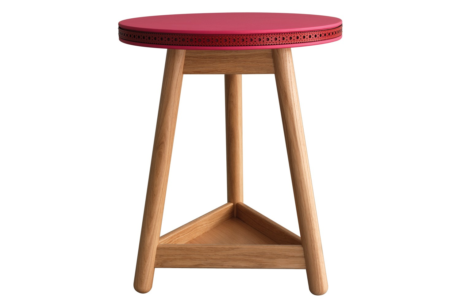 Brogue Side Table Oak Base, Pink and Red Top