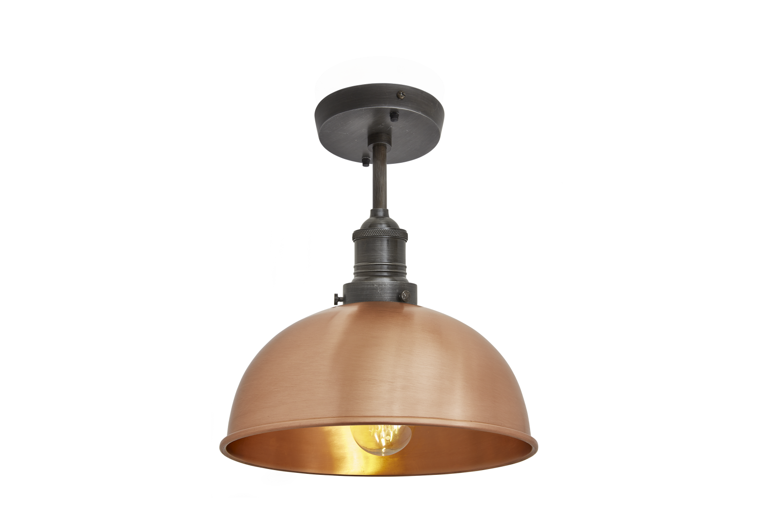 Brooklyn Dome Flush Mount Light - 8 Inch Brooklyn Dome Flush Mount - 8 Inch - Copper - Pewter Holder