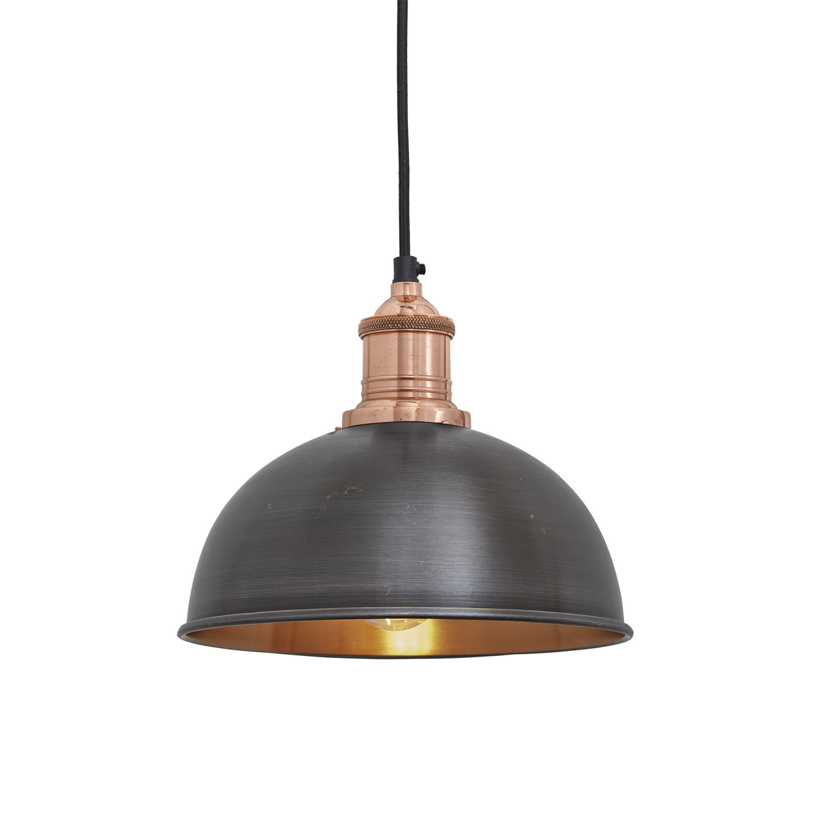 Brooklyn Dome Pendant Light - 8 Inch Brooklyn Dome Pendant - 8 Inch - Pewter & Copper - Copper Holde