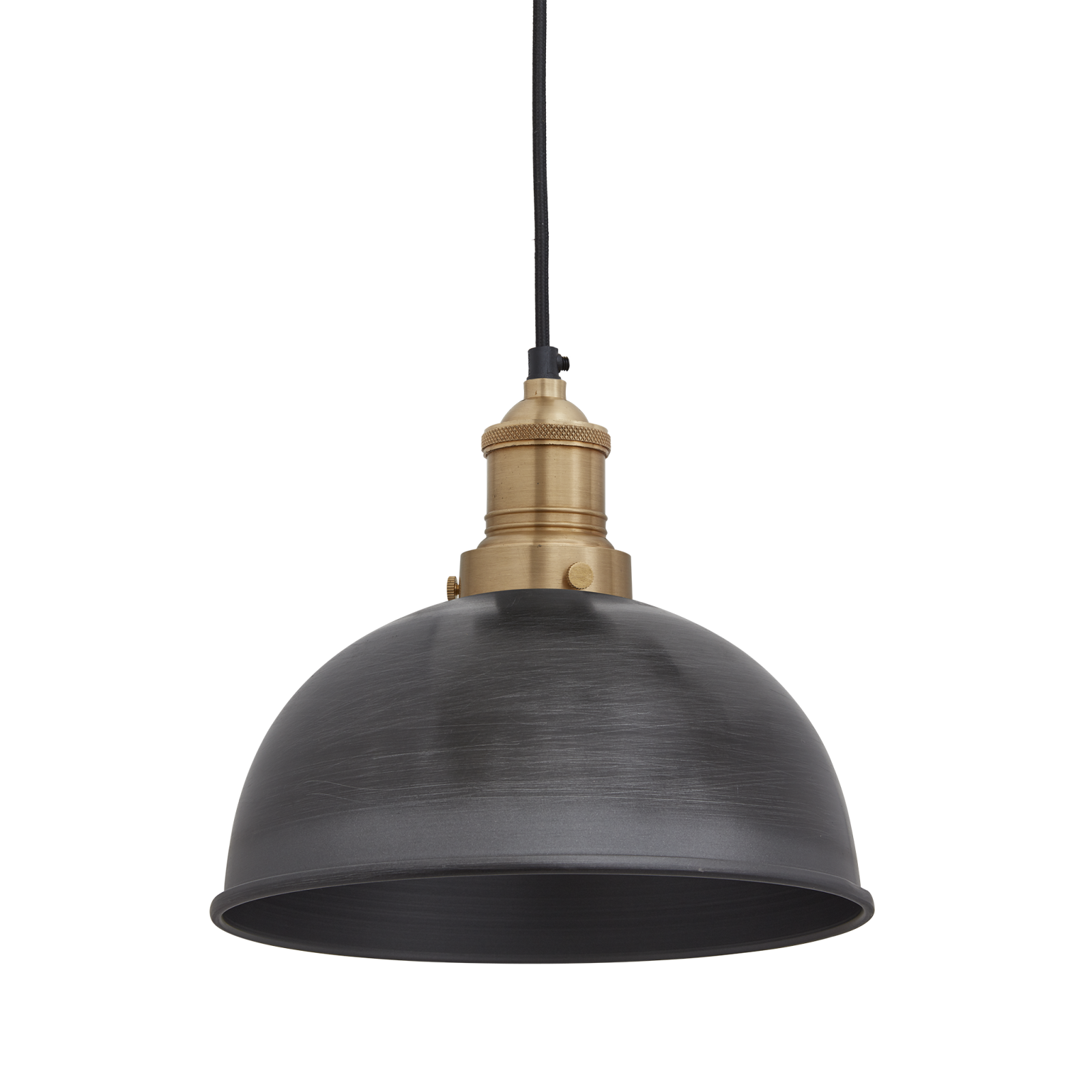 Brooklyn Dome Pendant Light - 8 Inch Brooklyn Dome Pendant - 8 Inch - Pewter - Brass Holder