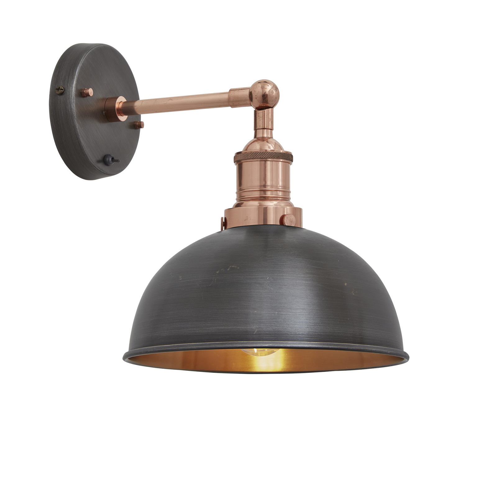 Brooklyn Dome Wall Light - 8 Inch Pewter & Copper Shade, Copper Holder