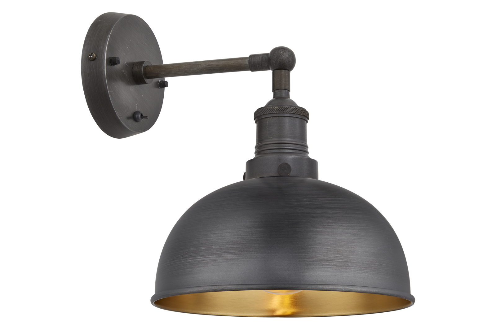 Brooklyn Dome Wall Light - 8 Inch Pewter & Brass Shade, Pewter Holder