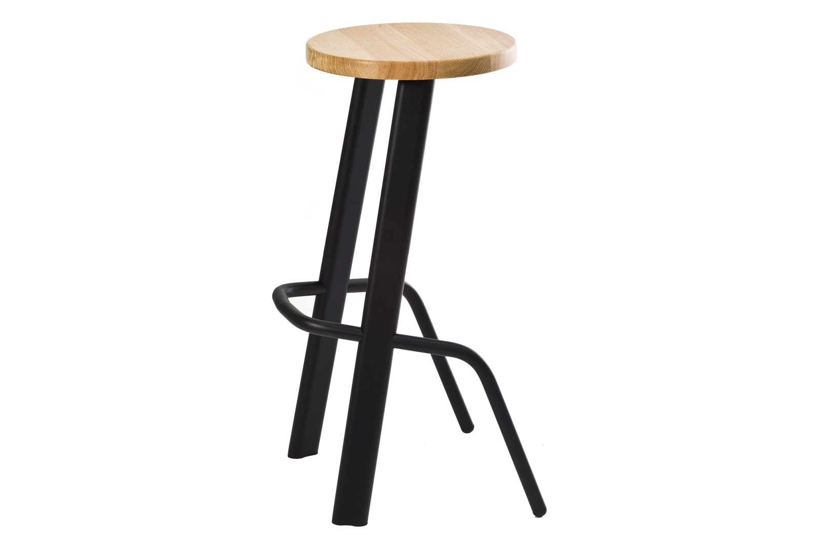 Bull Bar Stool Black and Oak Seat