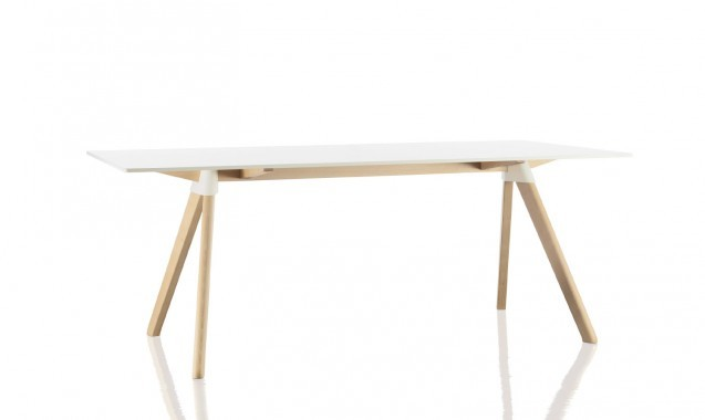 Butch Table - The Wild Bunch Natural Frame, White Joint and Top, 180x90cm