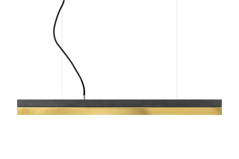 [C] Concrete & Brass Pendant Light (92cm or 122cm) Dark Grey, 4000k
