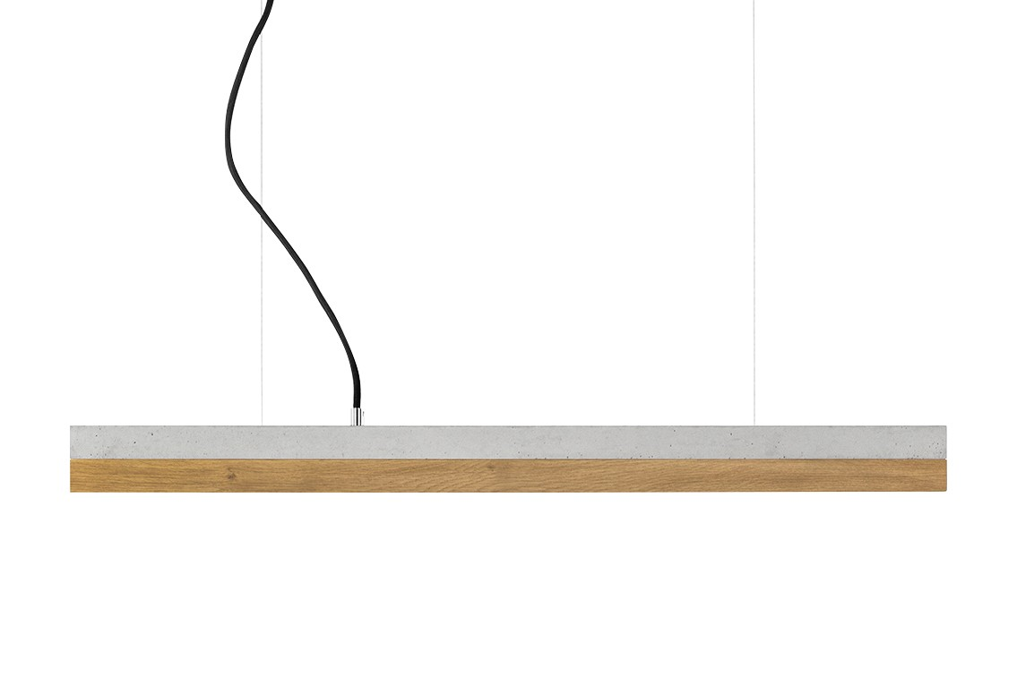 [C] Concrete & Oak Pendant Light (92cm or 122cm) Light Grey, 2700k, [C2] - 92cm