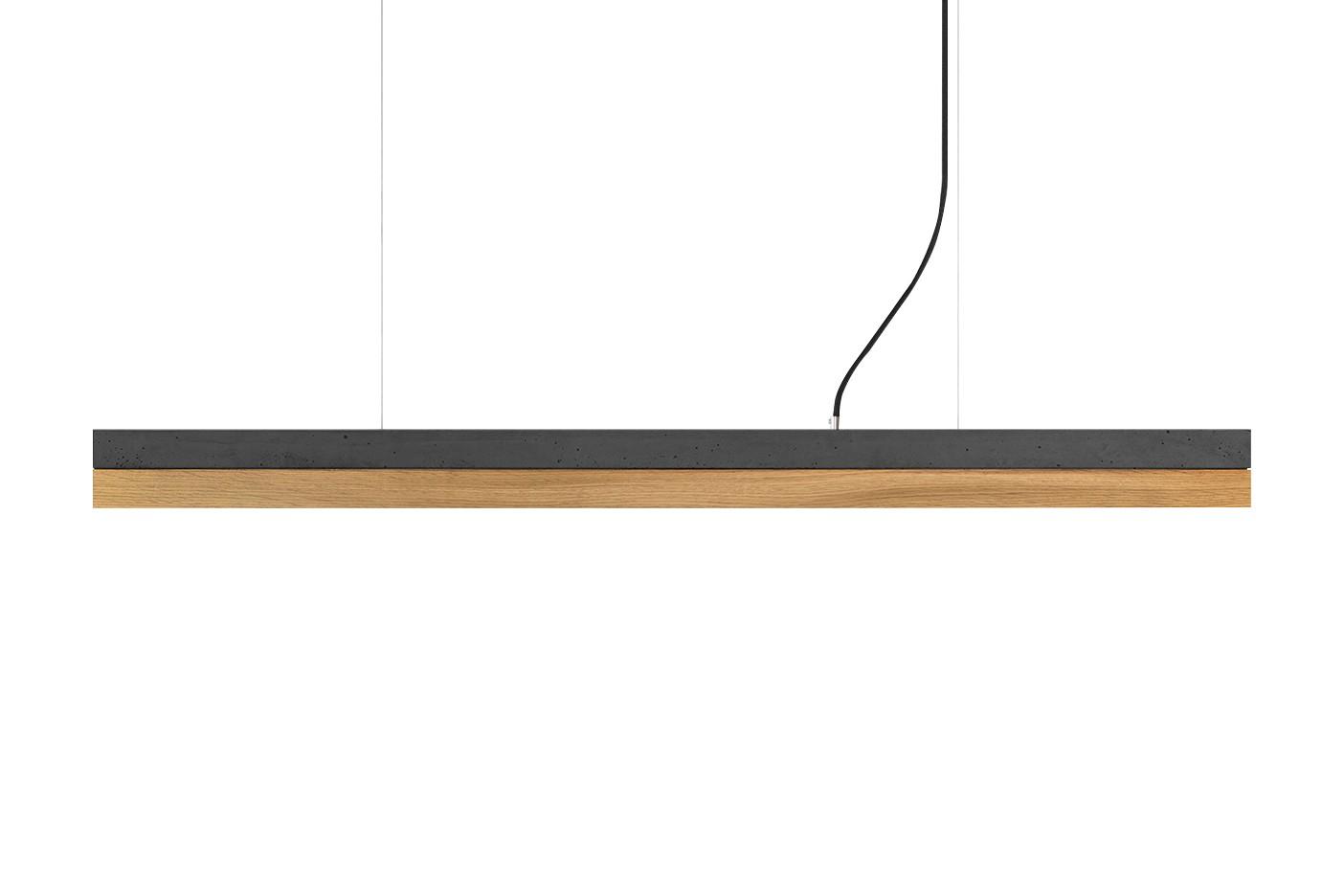 [C] Concrete & Oak Pendant Light (92cm or 122cm) Dark Grey, 4000k, [C1] - 122cm
