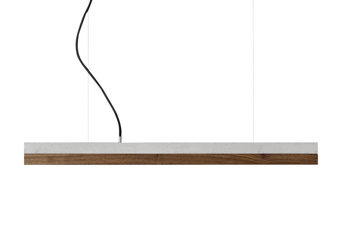 [C] Concrete & Walnut Pendant Light (92cm or 122cm) Light Grey, 2700k, [C2] - 92cm