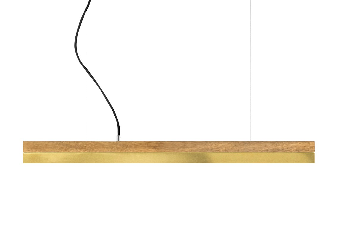 [C] Oak Wood & Brass Pendant Light (92cm, 122cm or 182cm) [C2o] - 92cm, 2700k