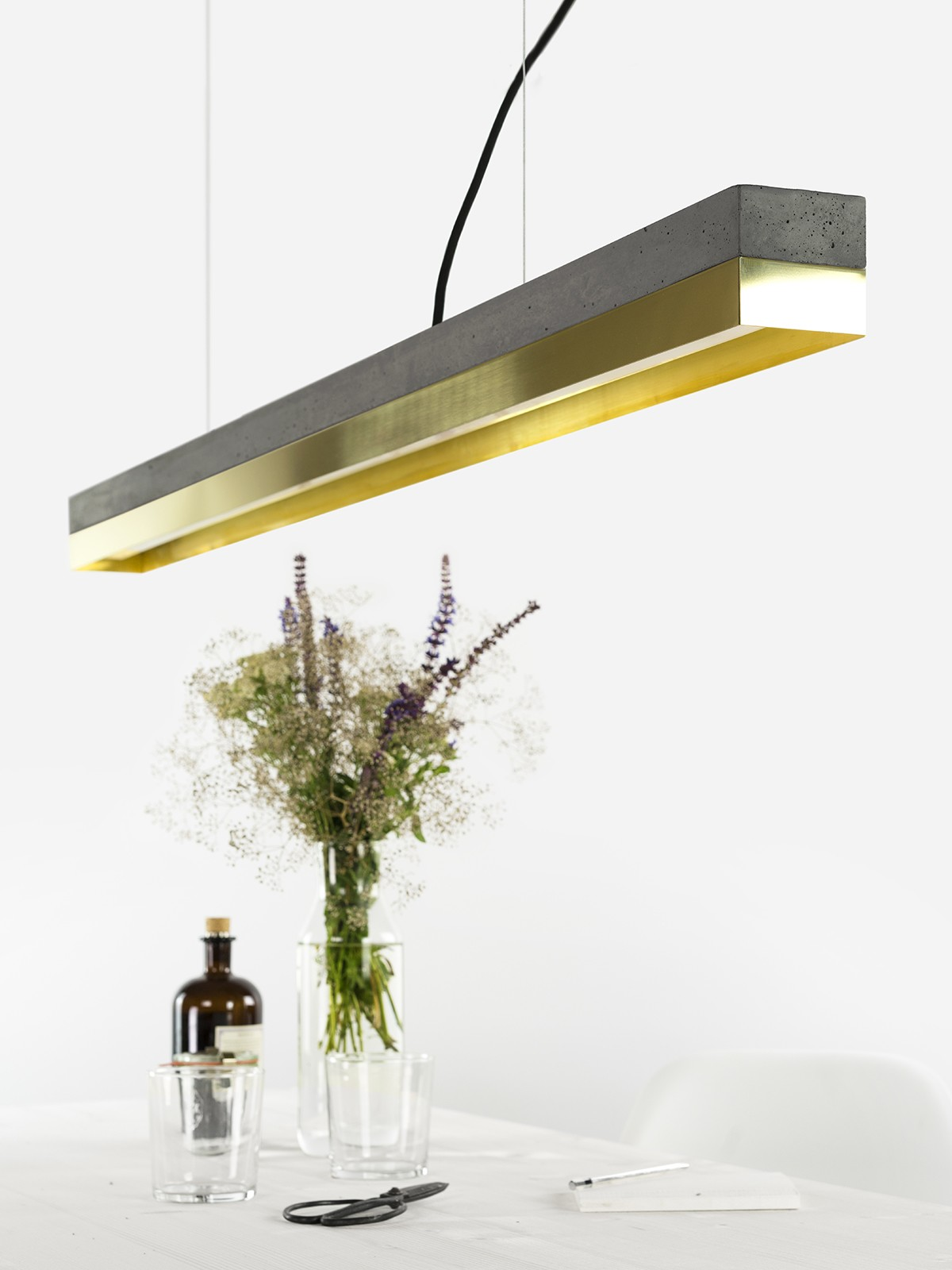 [C1] BRASS - Dimmable LED - Concrete & Brass Pendant Light Dimmable, Dark Grey Concrete, Brass