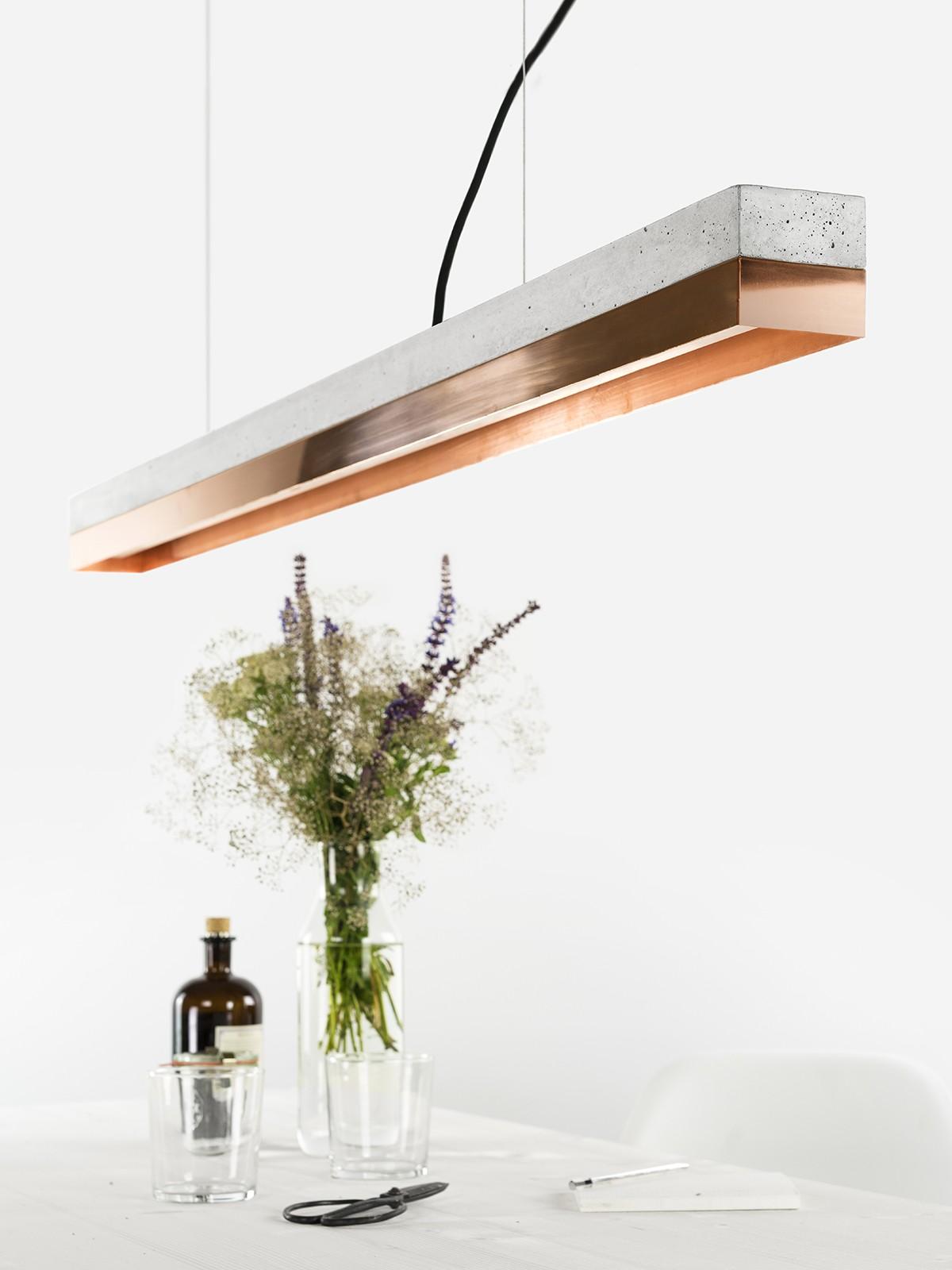 [C1] COPPER - Dimmable LED - Concrete & Copper Pendant Light Dimmable, Light Grey Concrete, Copper