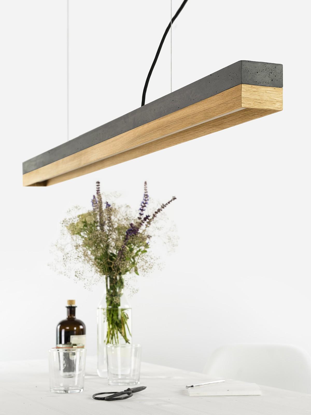 [C1] OAK - Dimmable LED - Concrete & Oak Pendant Light Dimmable, Dark Grey Concrete, Oak