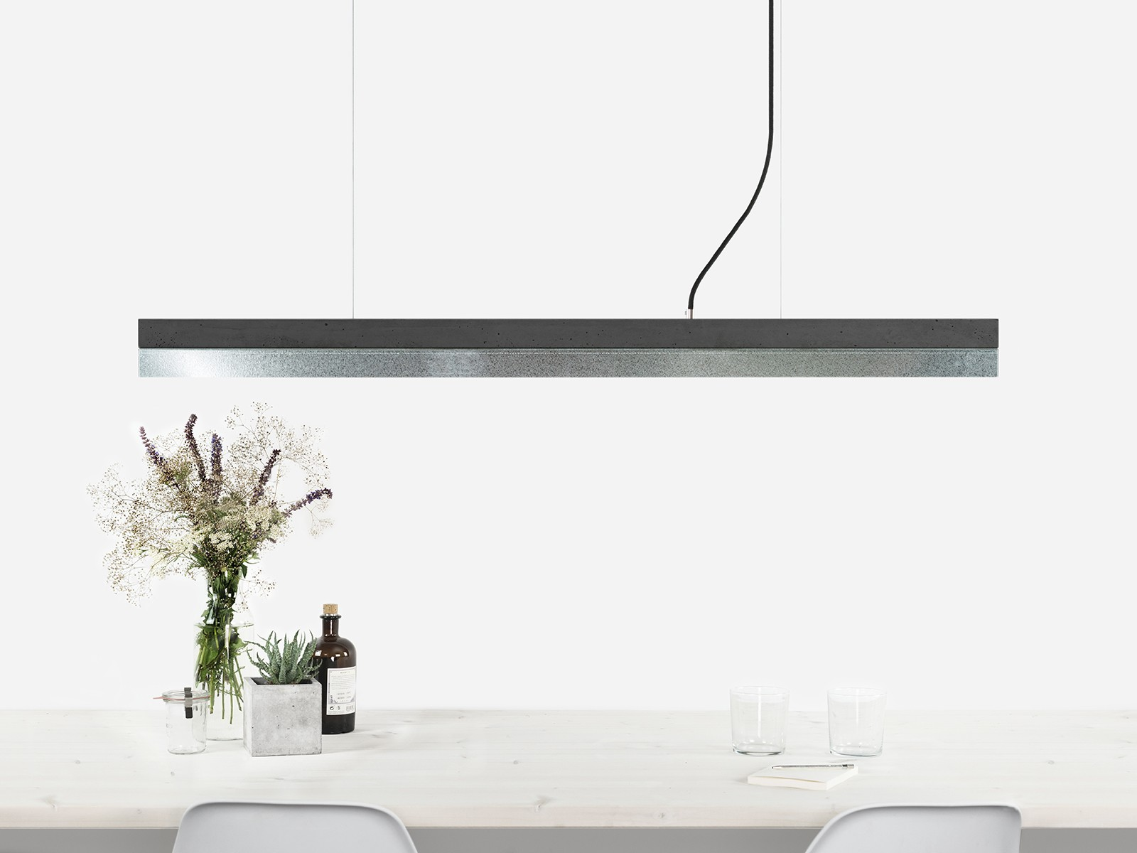 [C1] ZINC - Dimmable LED - Concrete & Zinc Pendant Light Non-dimmable, Dark Grey Concrete, Zinc