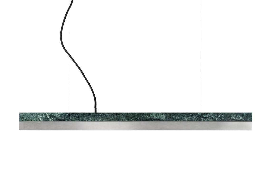 [C2m] Marble Pendant Light (92cm) Verde Guatemala, Stainless Steel, 4000k