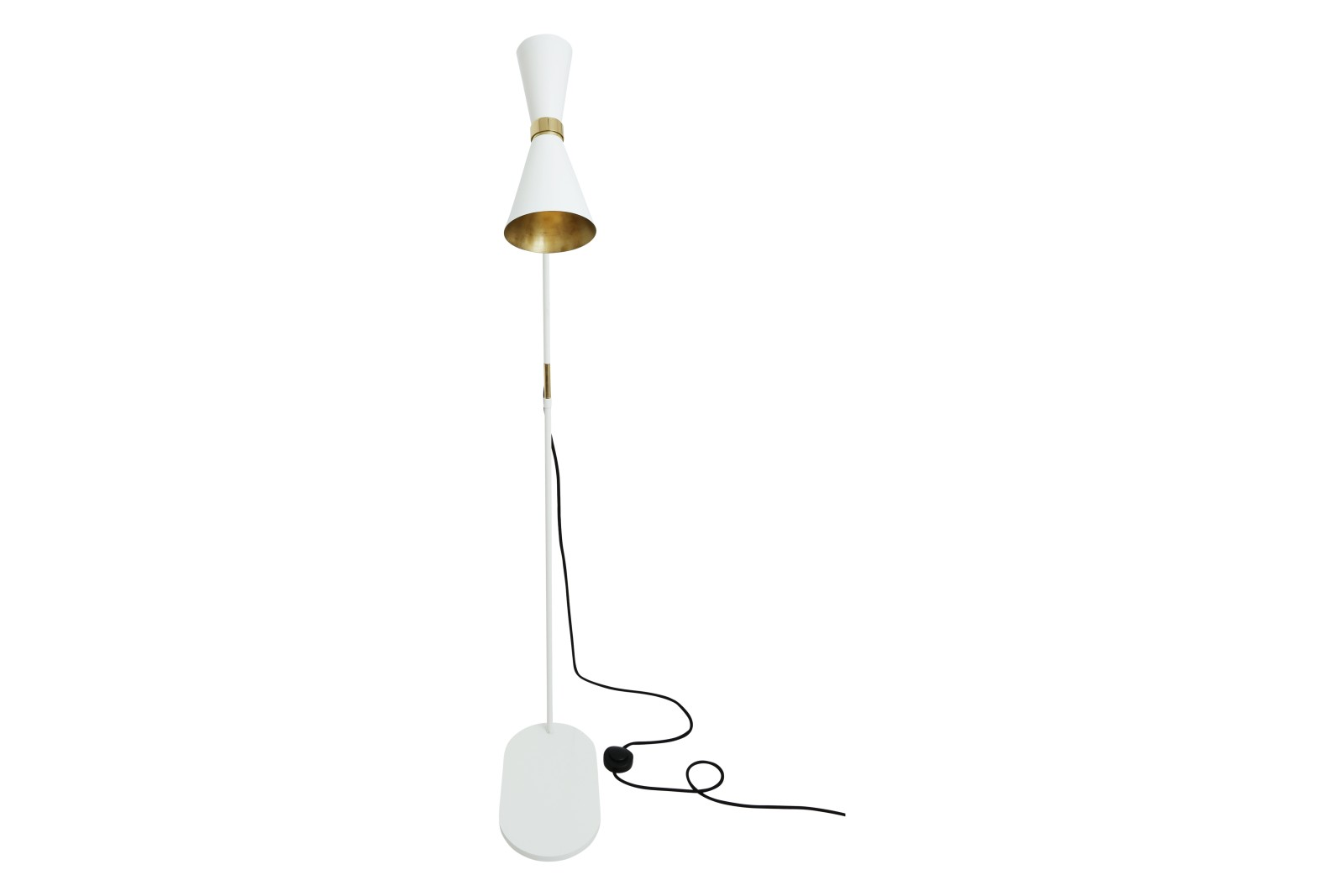 Cairo Floor Lamp Powder Coated White, UK Plug