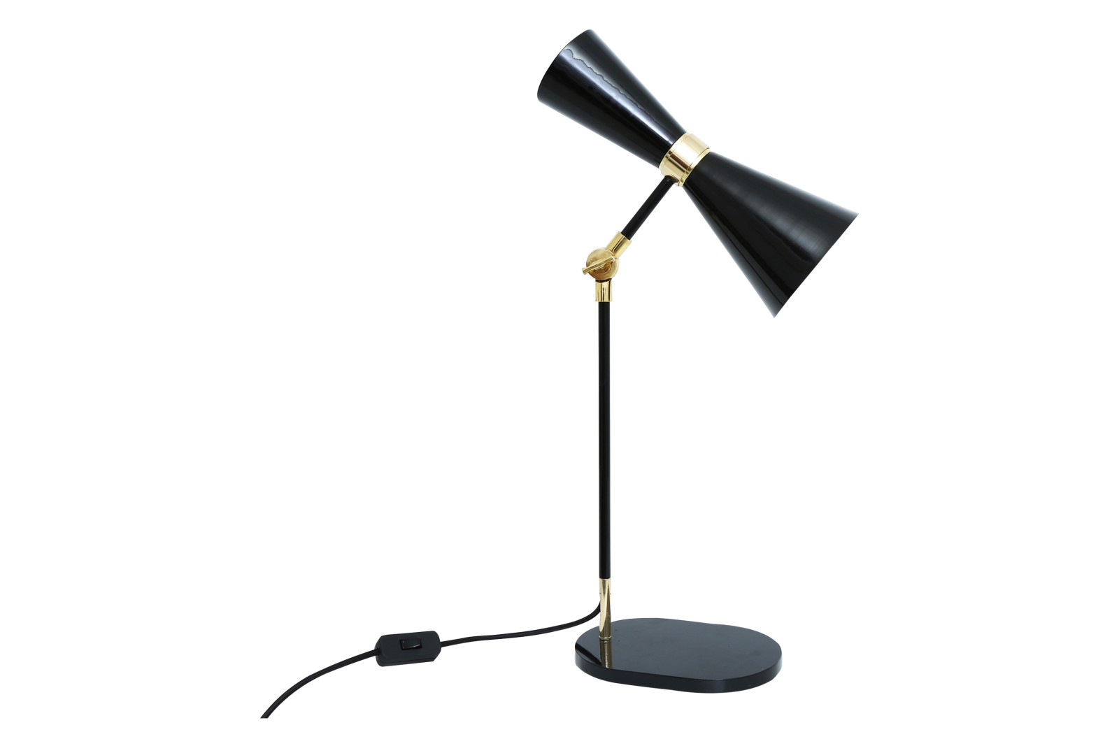 Cairo Table Lamp Powder Coated Matte Black, UK Plug