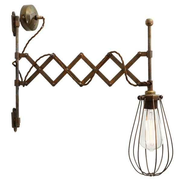 Calis Scissor Arm Cage Light Antique Brass