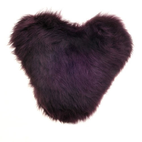 Calon Wlân - Sheepskin Heart Cushion in Aubergine