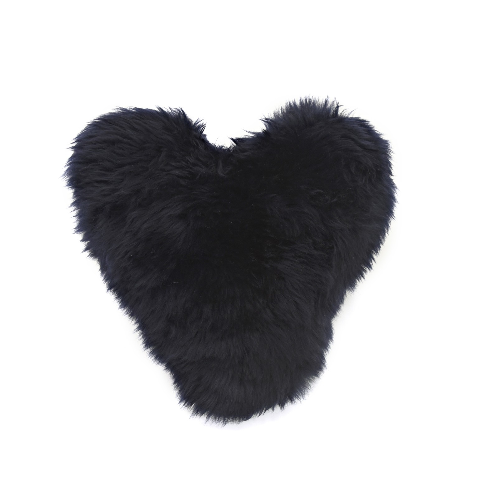 Calon Wlân - Sheepskin Heart Cushion in Navy