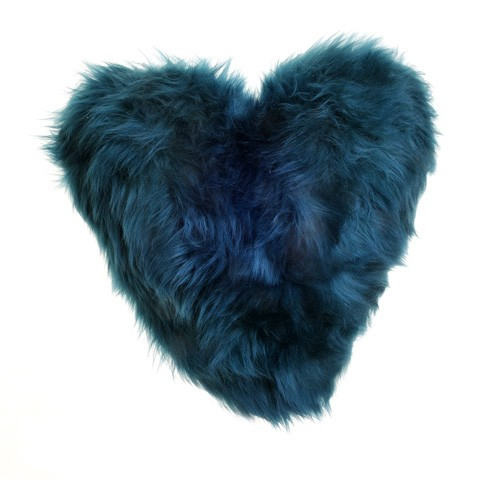 Calon Wlân - Sheepskin Heart Cushion in Teal