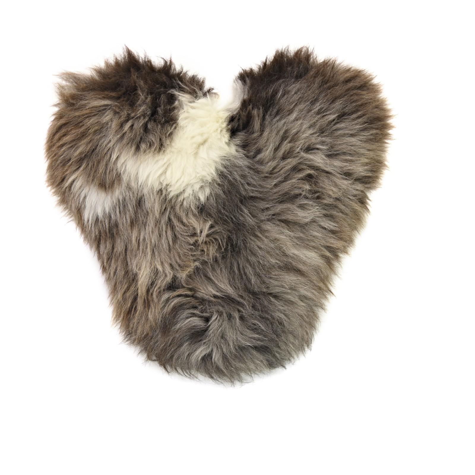 Calon Wlân - Sheepskin Heart Cushion in Rare Breed