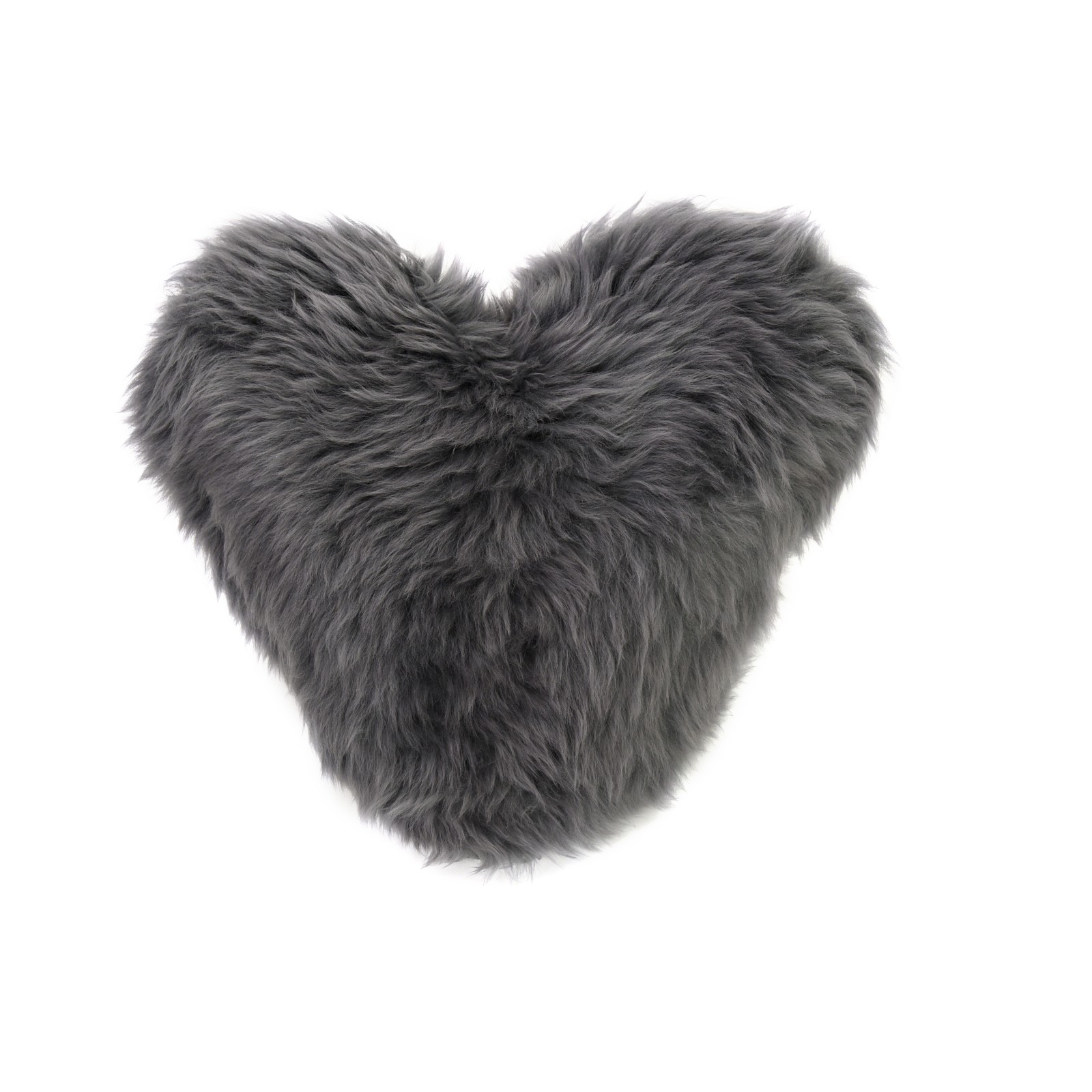 Calon Wlân - Sheepskin Heart Cushion in Slate Grey