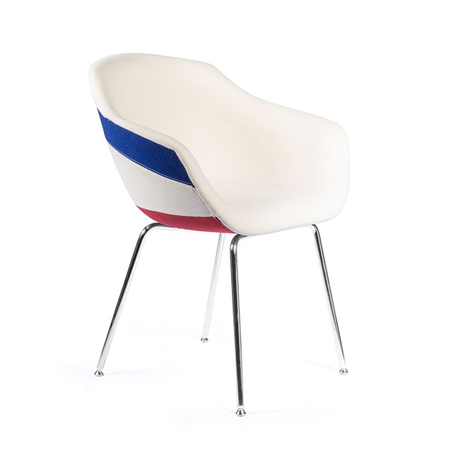 Canal Dining Chair with Four-Legged Steel Base Galea - White
