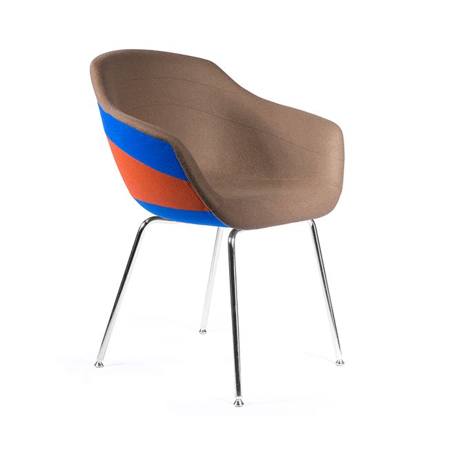 Canal Dining Chair with Four-Legged Steel Base Galea - Brown