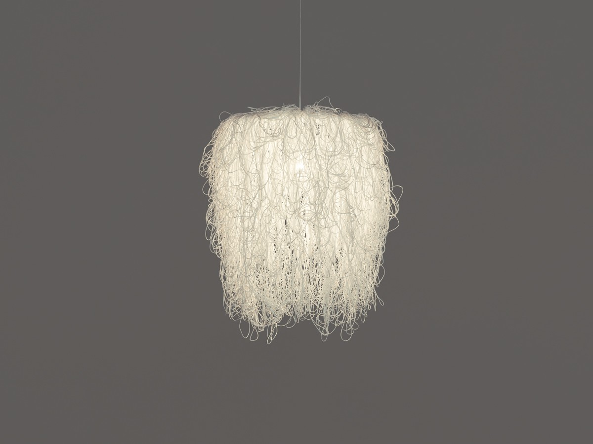 Caos Pendant Lamp White. Transparent Cable, No, Large