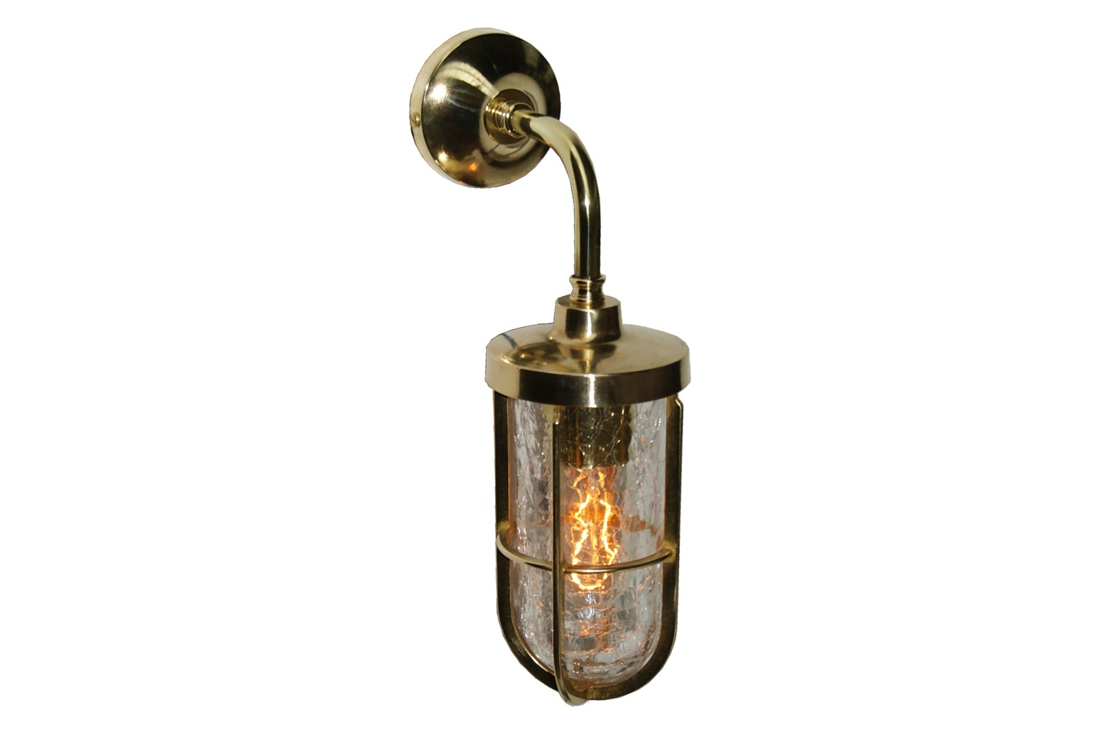 Carac Well Glass Wall Light Polished Brass, Crackled Glass