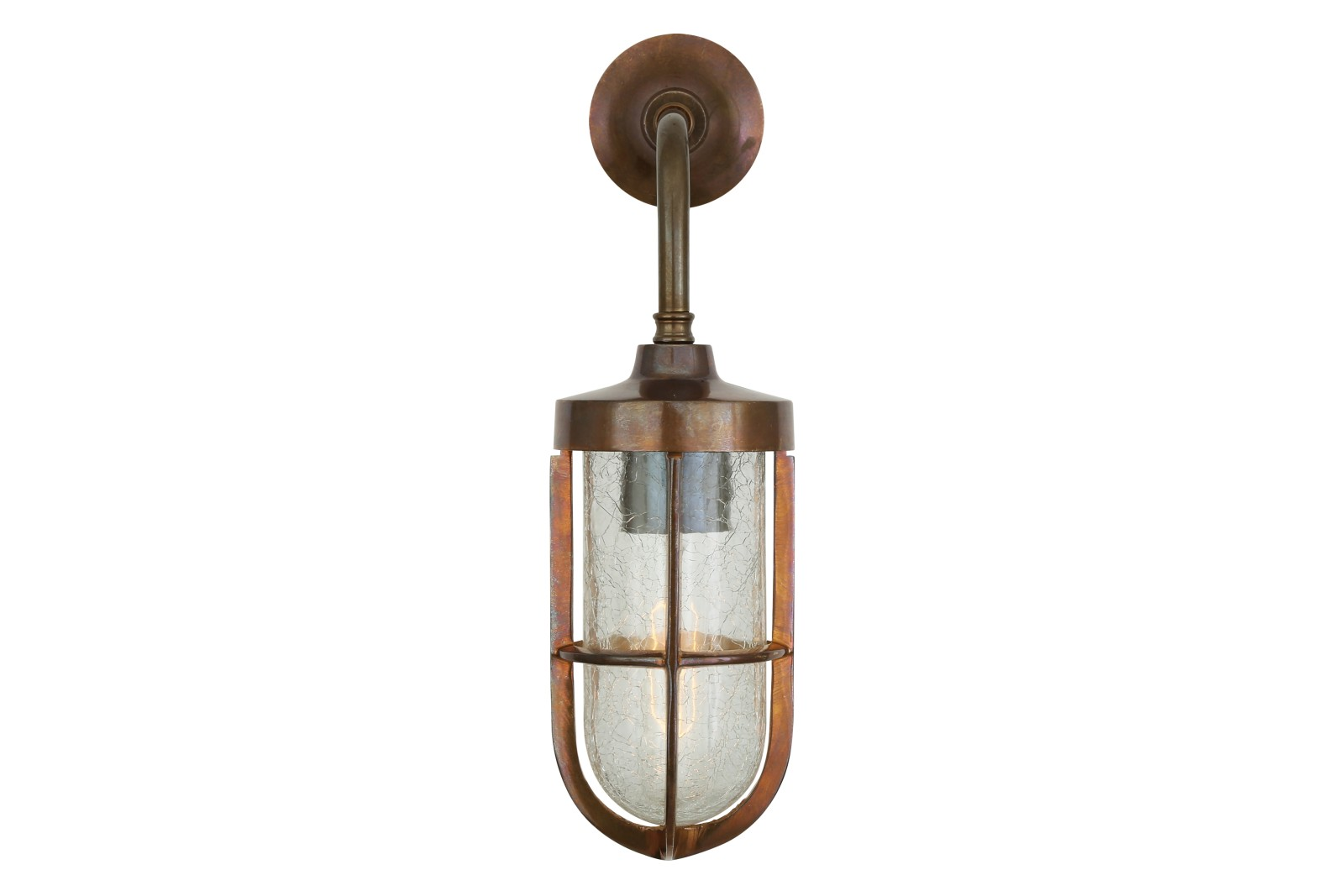 Carac Well Glass Wall Light Antique Brass, Crackled Glass