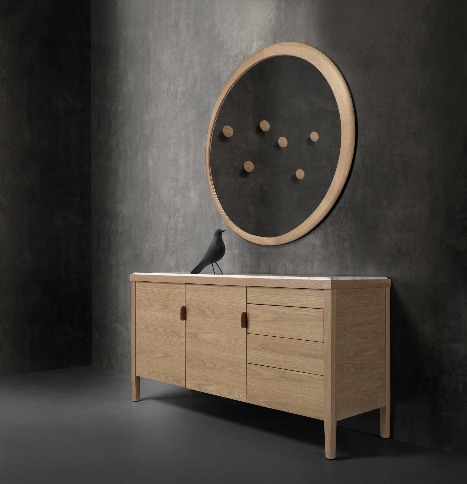Carousel III Sideboard Oak Natural, Calcatta Marble