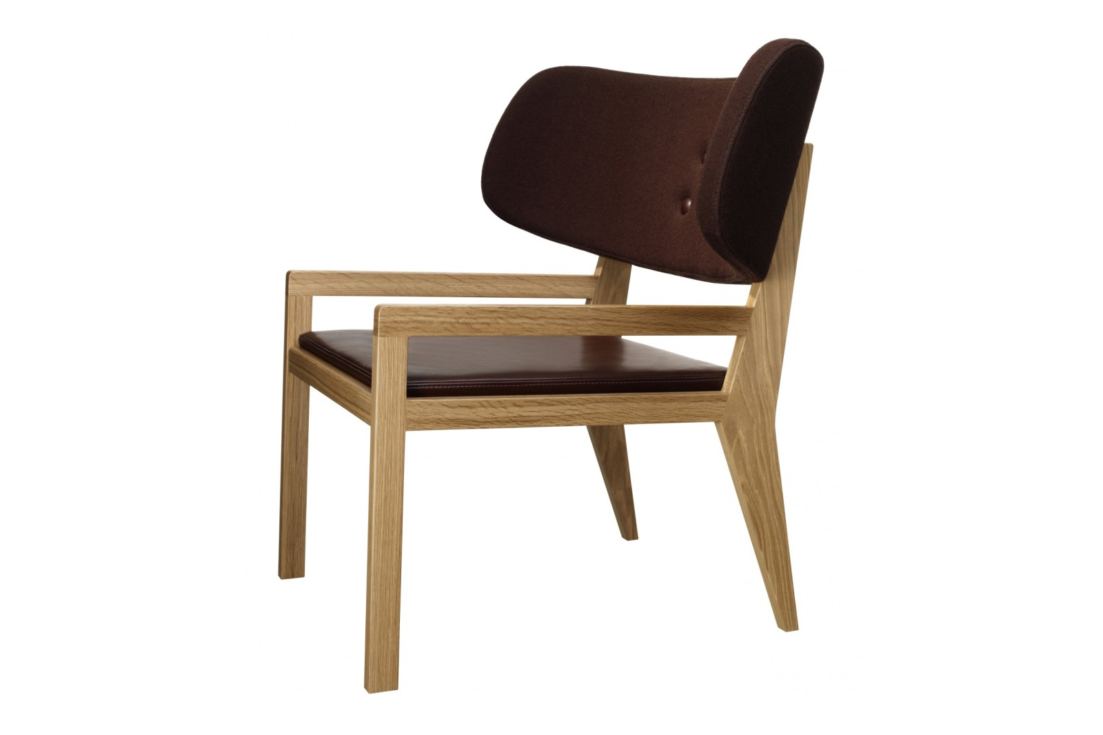 Cartoon Easy Chair with Leather Seat Oak Natural Lacquer, Elmo Baltique 93002, Europost 2 Colour 610