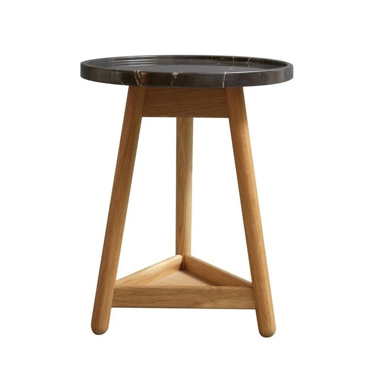 Carve Side Table Oak Base, Black Top