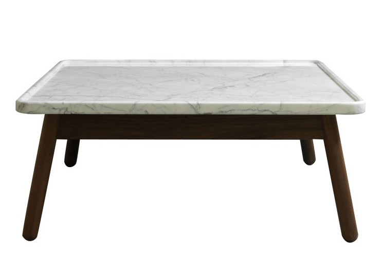 Carve Square Coffee Table Walnut Base, White Top, 80 x 80 cm
