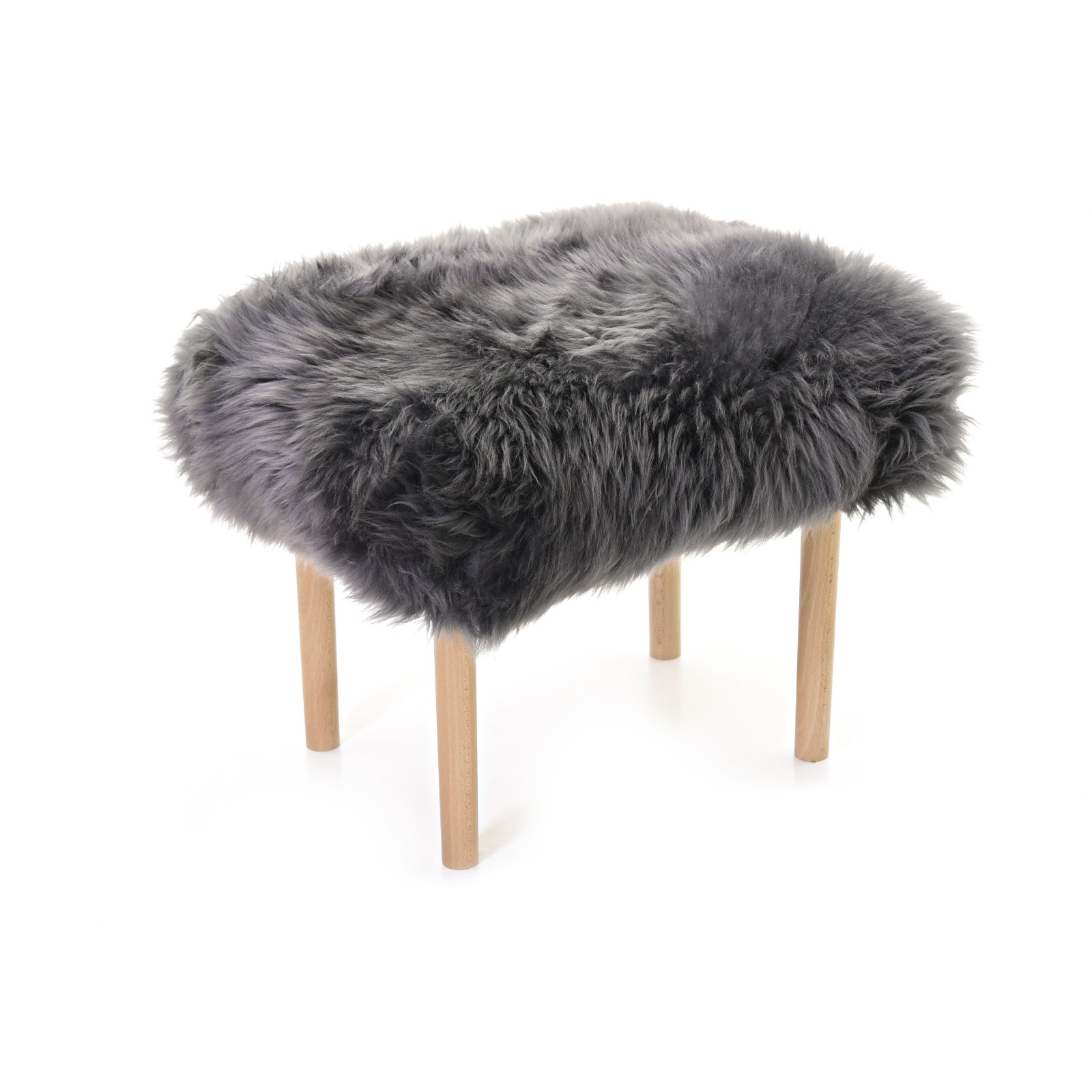Carys Sheepskin Footstool Grey