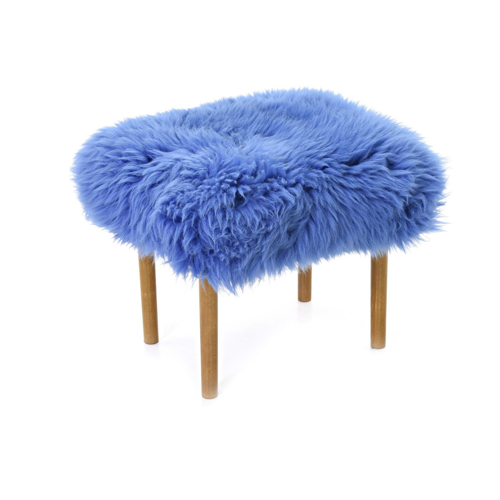 Ceri Sheepskin Footstool Cornflower Blue