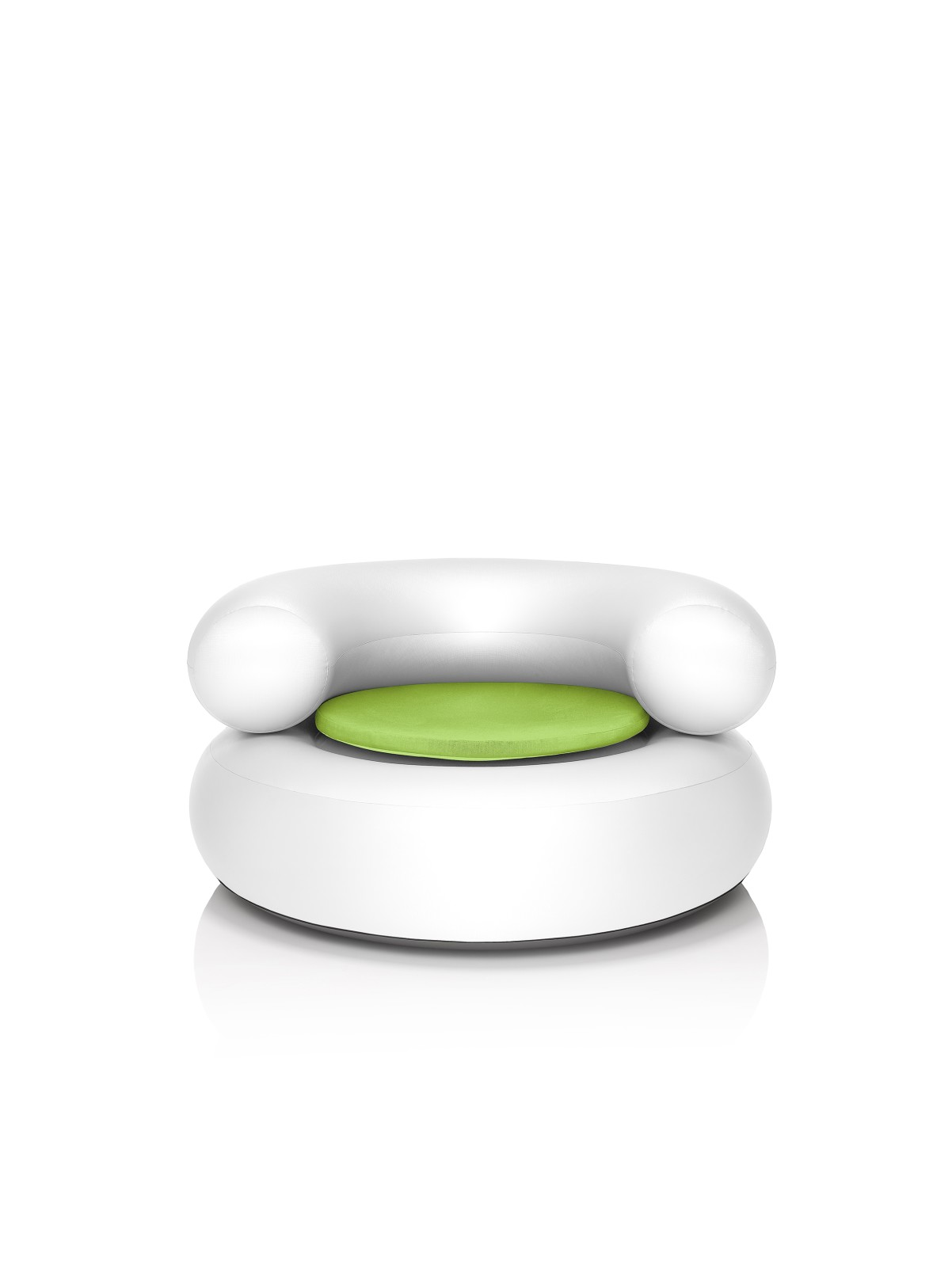 CH-AIR Armchair White with Green Pillow