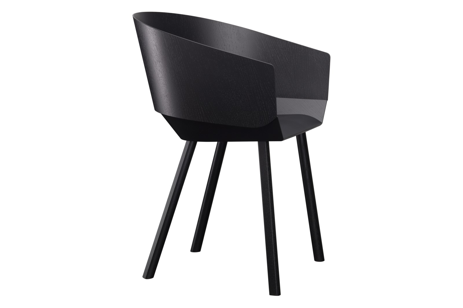 CH04 Houdini Dining Chair with Armrests Jet Black