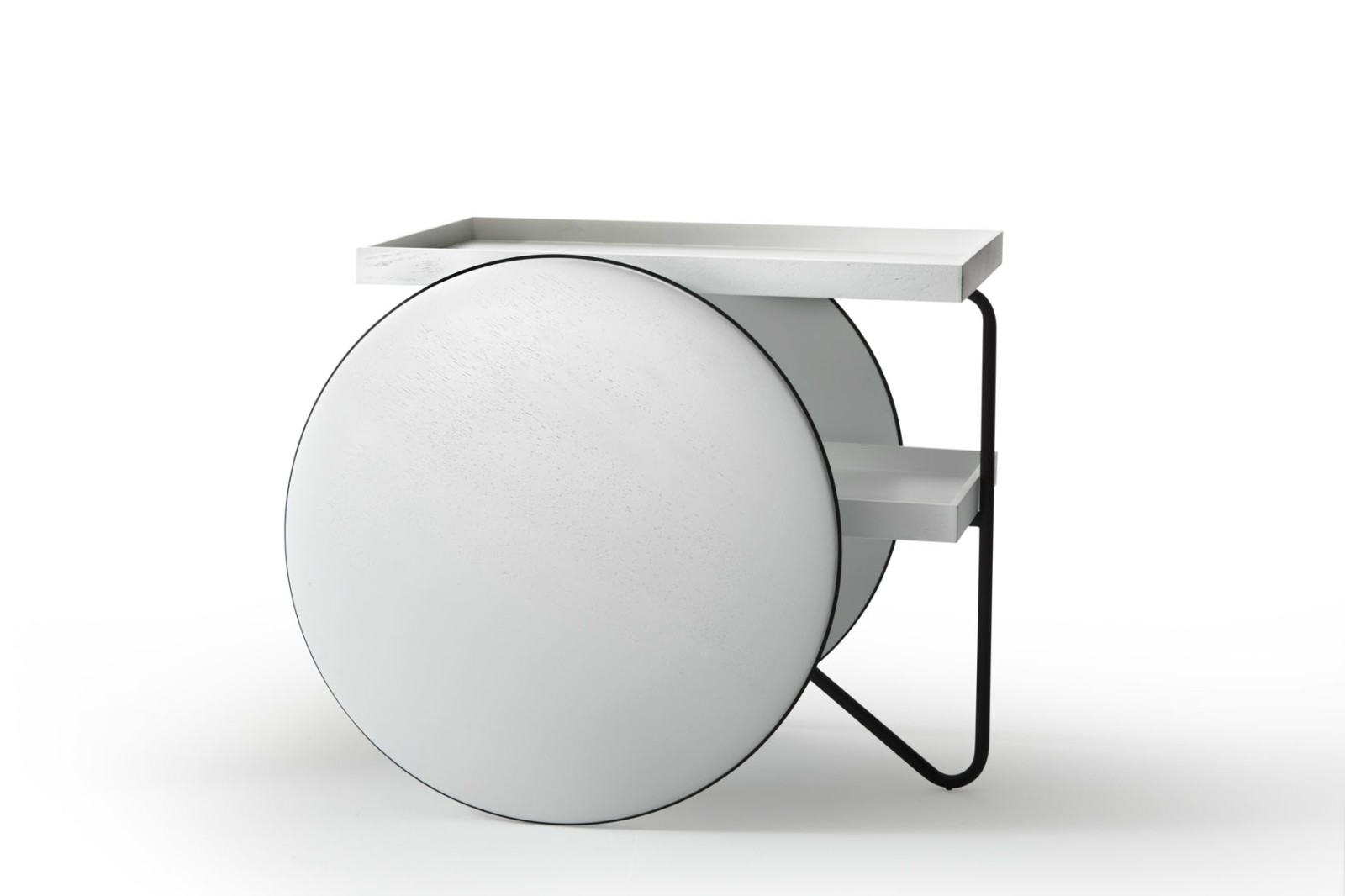 Chariot Mobile Table black painted metal structure/white painted solid oak
