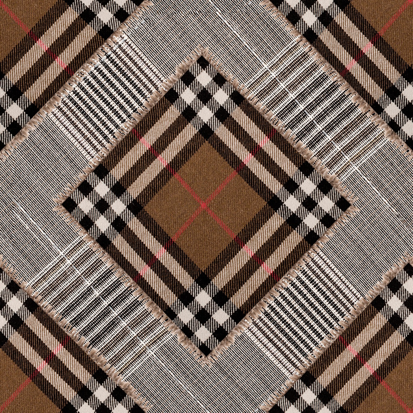 Checkered Patchwork Wallpaper Mid Brown