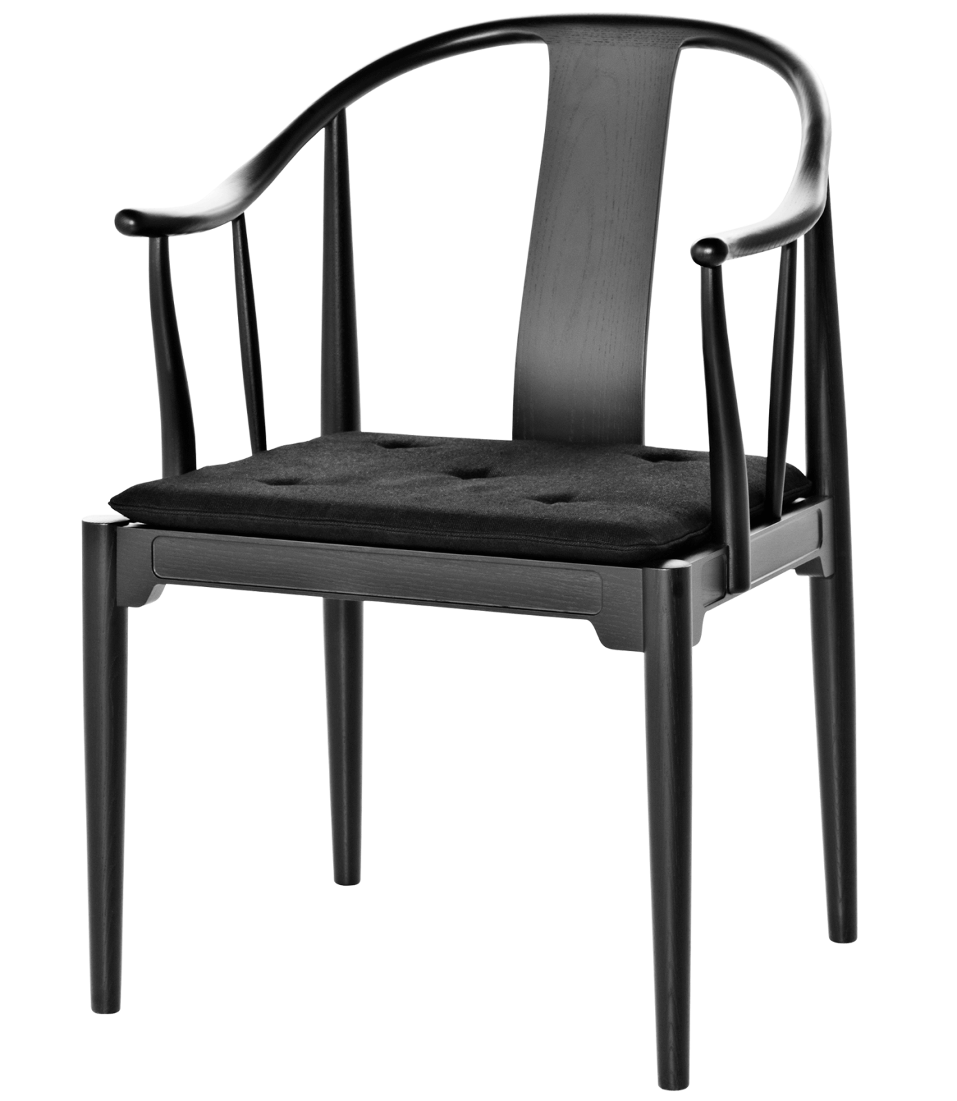 China Armchair Black Coloured Ash, Classic Leather Black