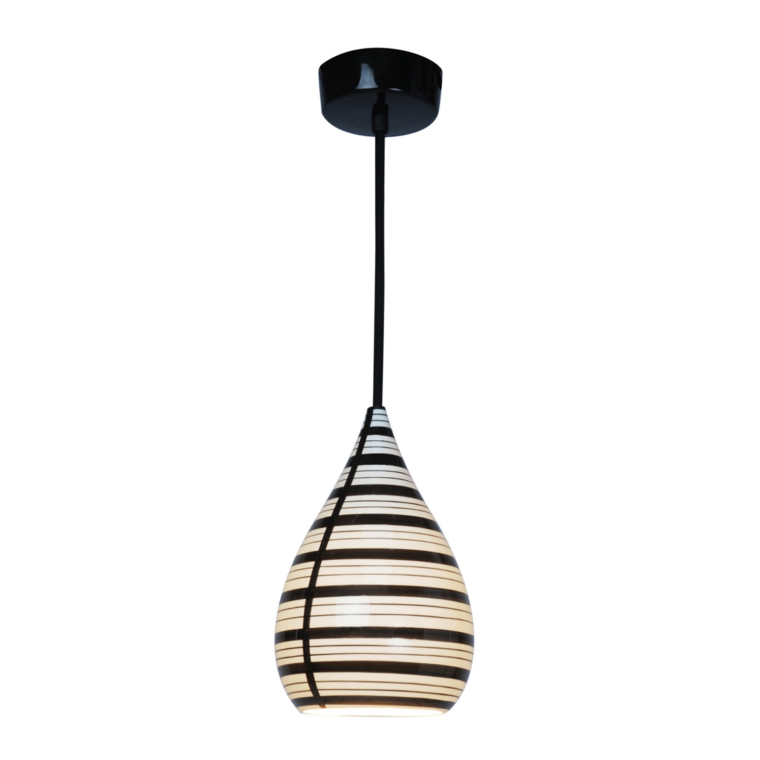 Circle Line Drop Pendant Light Natural White & Black