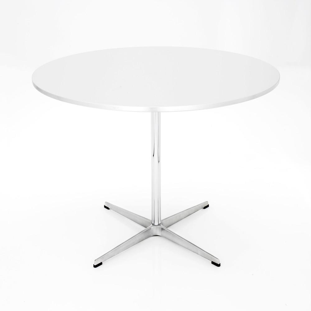 Circular Dining Table - 4-star base Laminate Standard Colour White