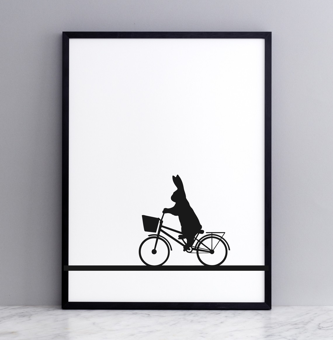 City Bike Rabbit Screen Print Small
