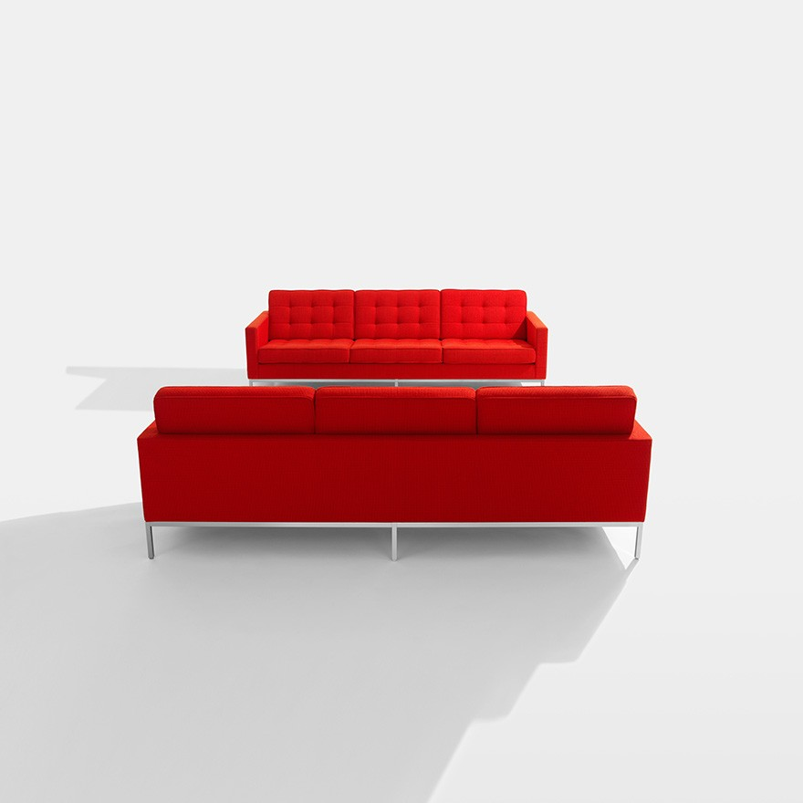 Florence Knoll 3 Seater Sofa Polished Chrome, Portofino Vel i smo PT2308