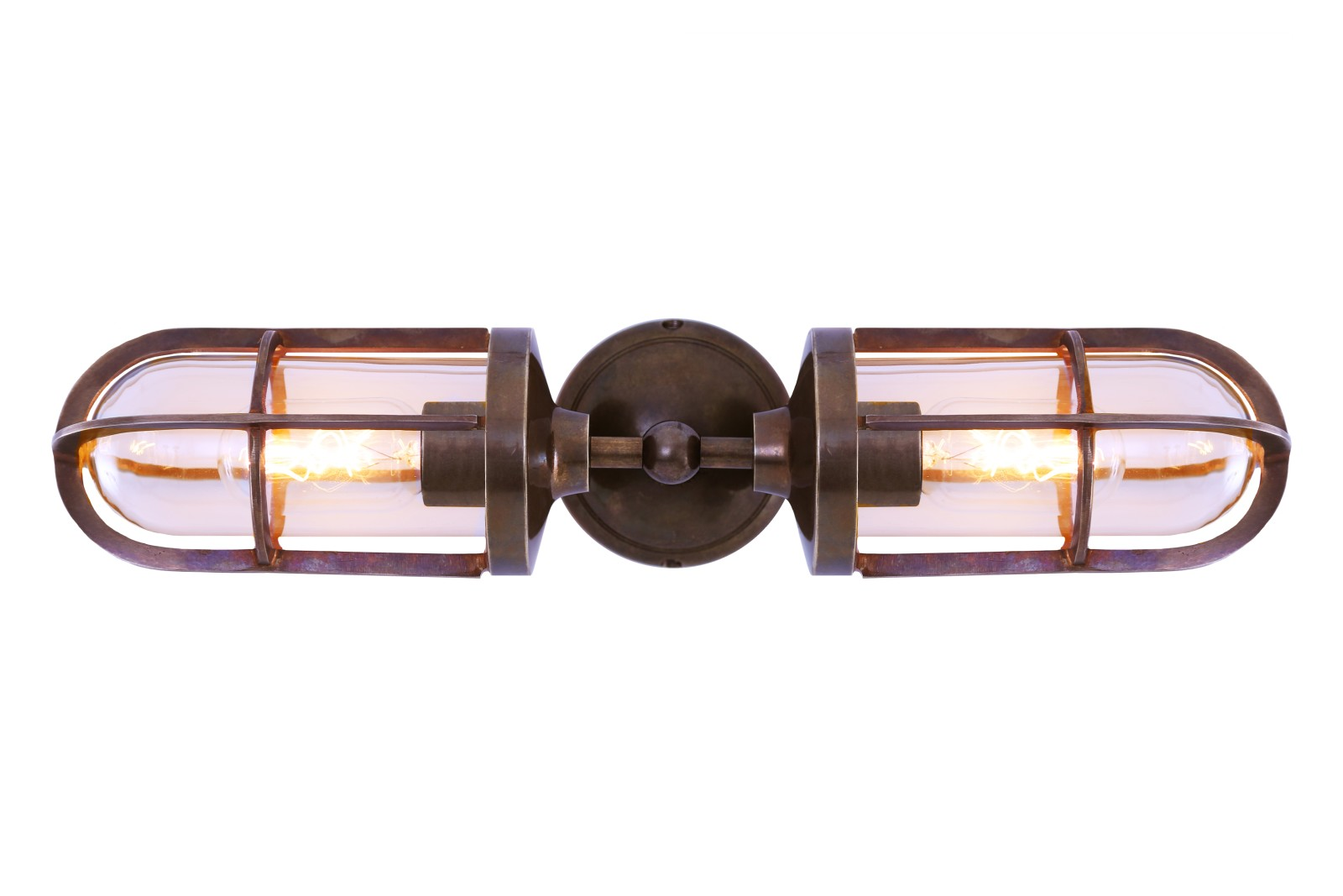 Clayton Double Well Glass Wall Light Antique Brass, Clear Glass