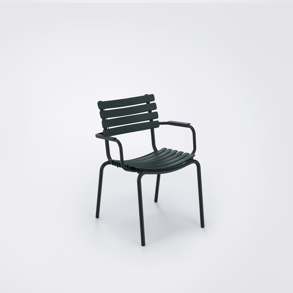 Clips Dining Chair With Armrests Pine Green, Aluminium