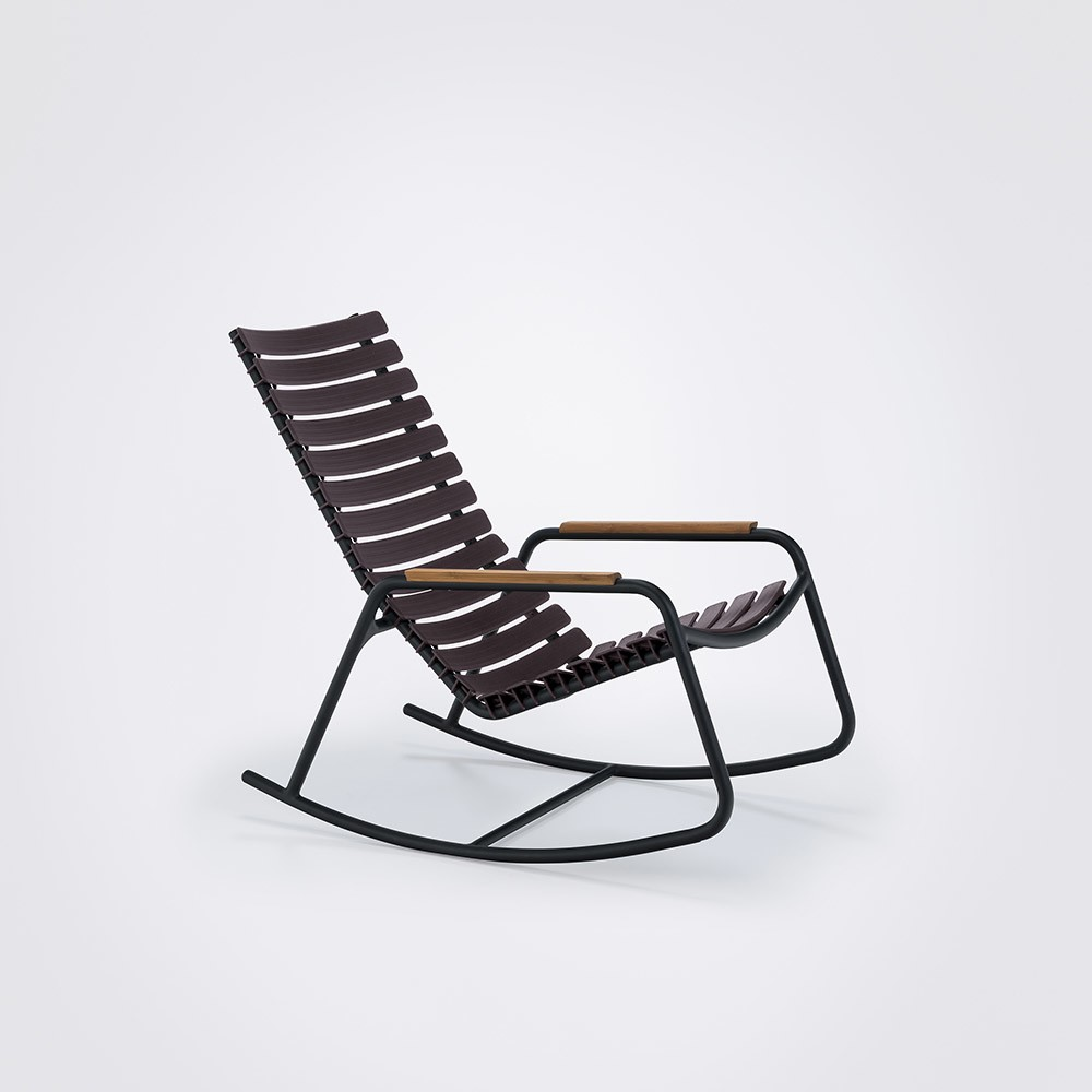 Clips Rocking Chair - Black Frame, Bamboo Armrests Plum